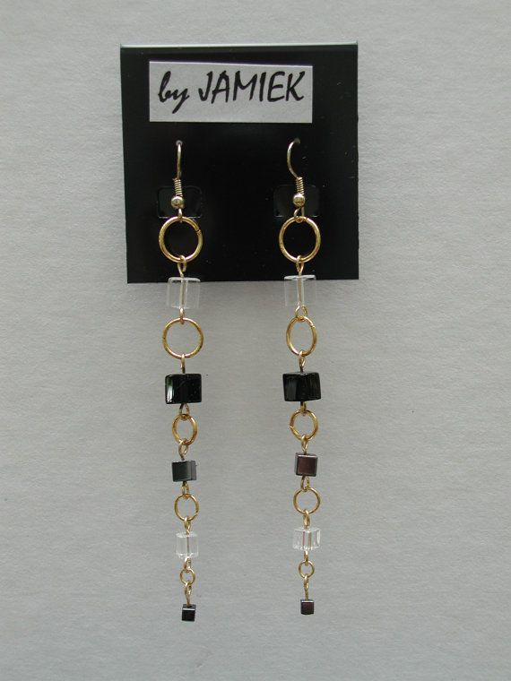 Photo of Dangle Earrings Ring and Block Chain with Black and Clear   Etsy
