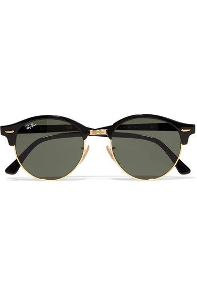 2c0fb5296d5a Ray-Ban Clubround Acetate And Gold-tone Sunglasses - Black ...
