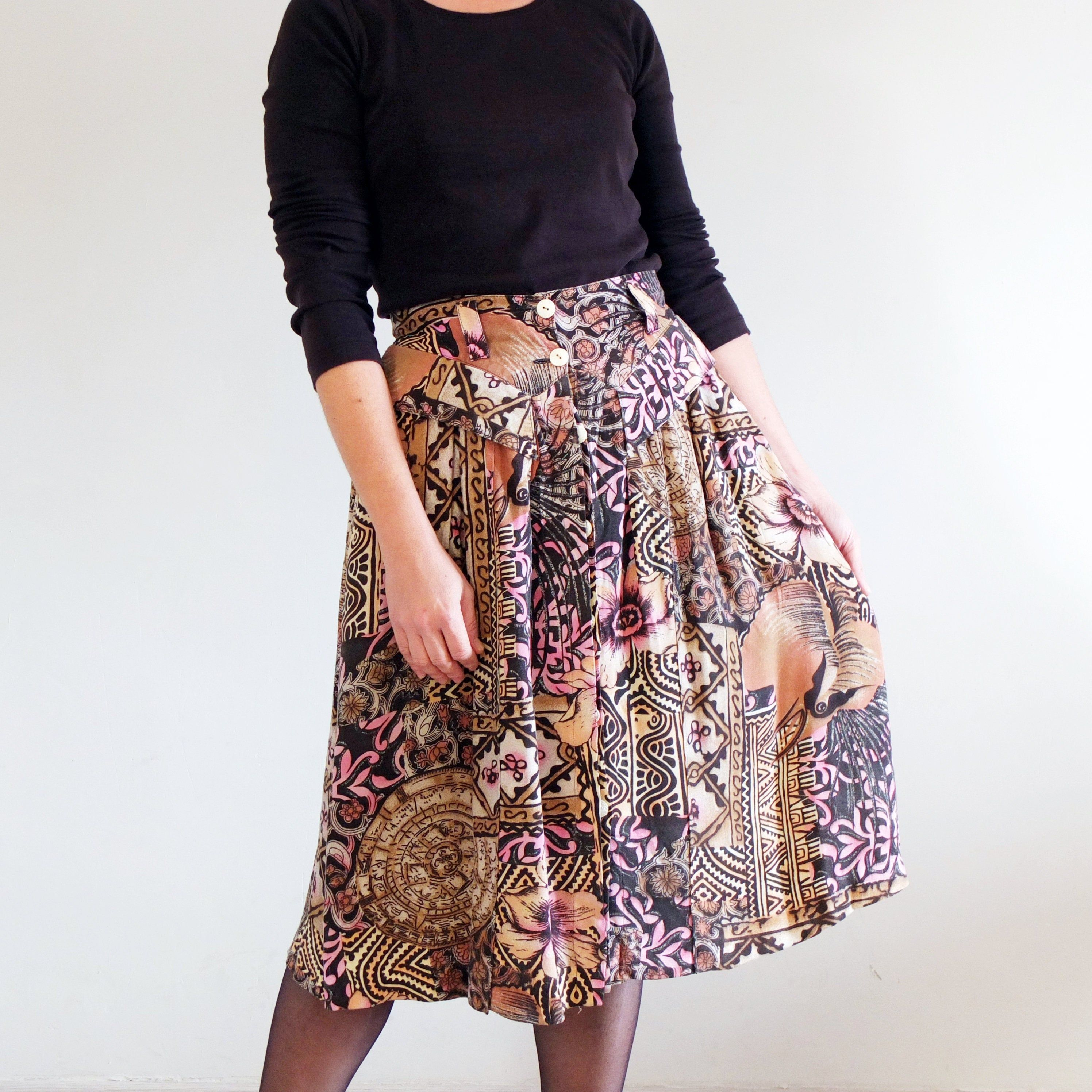 Vintage 80/'s floral print midi skirt Summer hipster chic long skirt Elastic high-waist skirt Made in England
