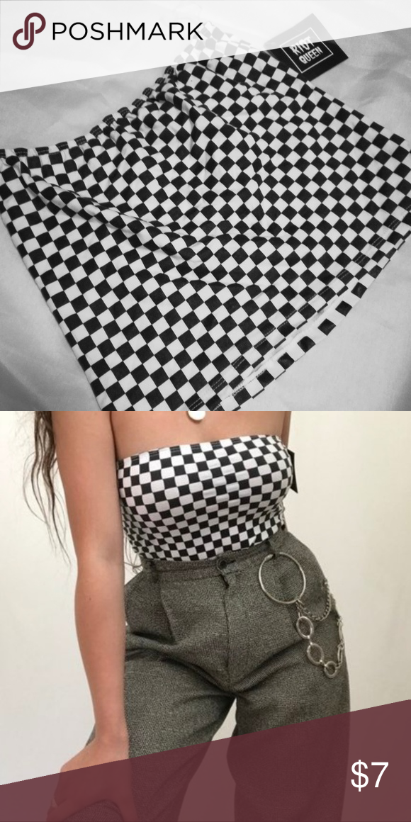 54086ee8ed5 I bought this and just never wore it. Checkered tube top Riot Queen Tops  Crop Tops