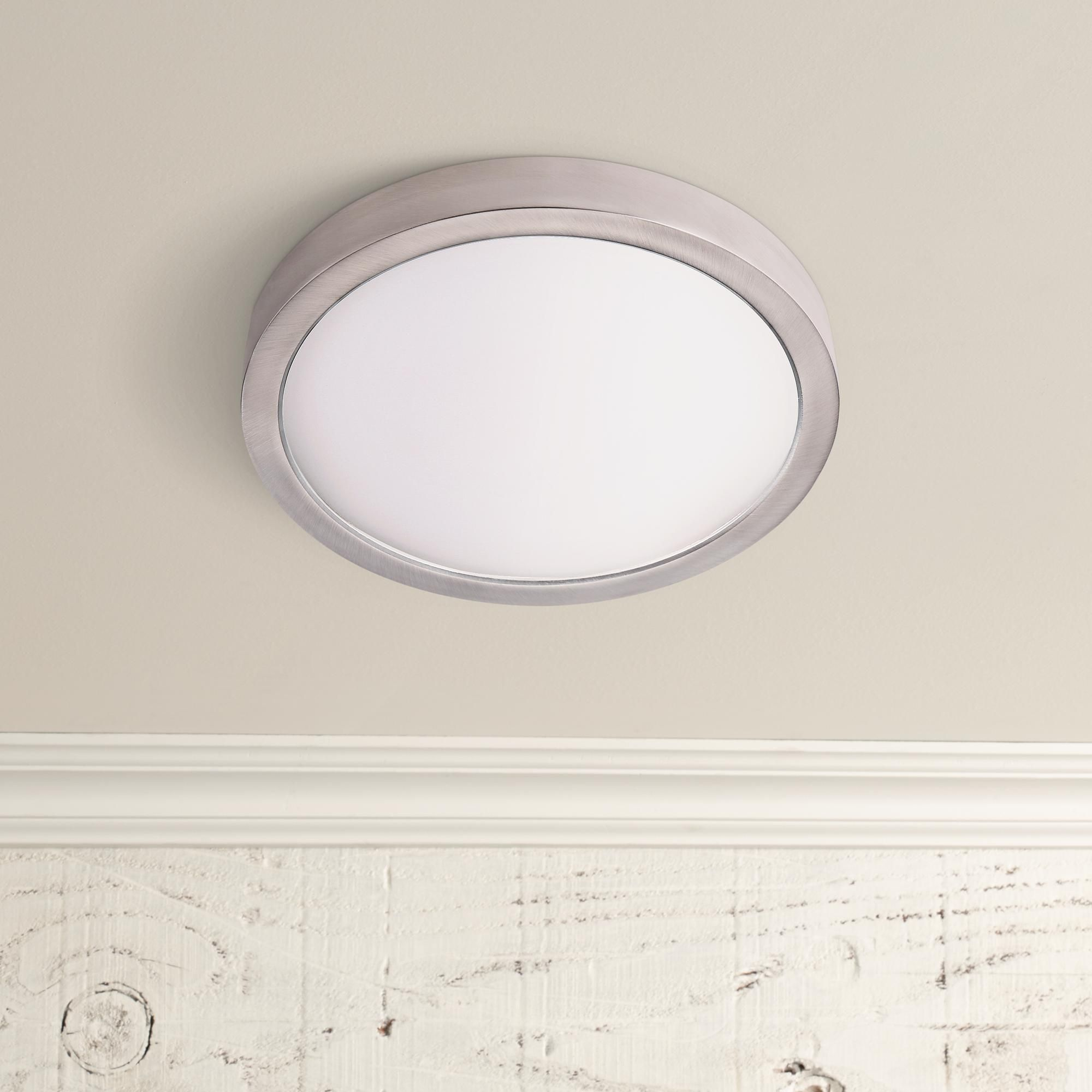 Disk 12 Inch Wide Nickel Round Led Indoor Outdoor Ceiling Light