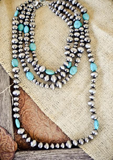 Handmade 4 Strand Navajo Pearls Turquoise Necklace