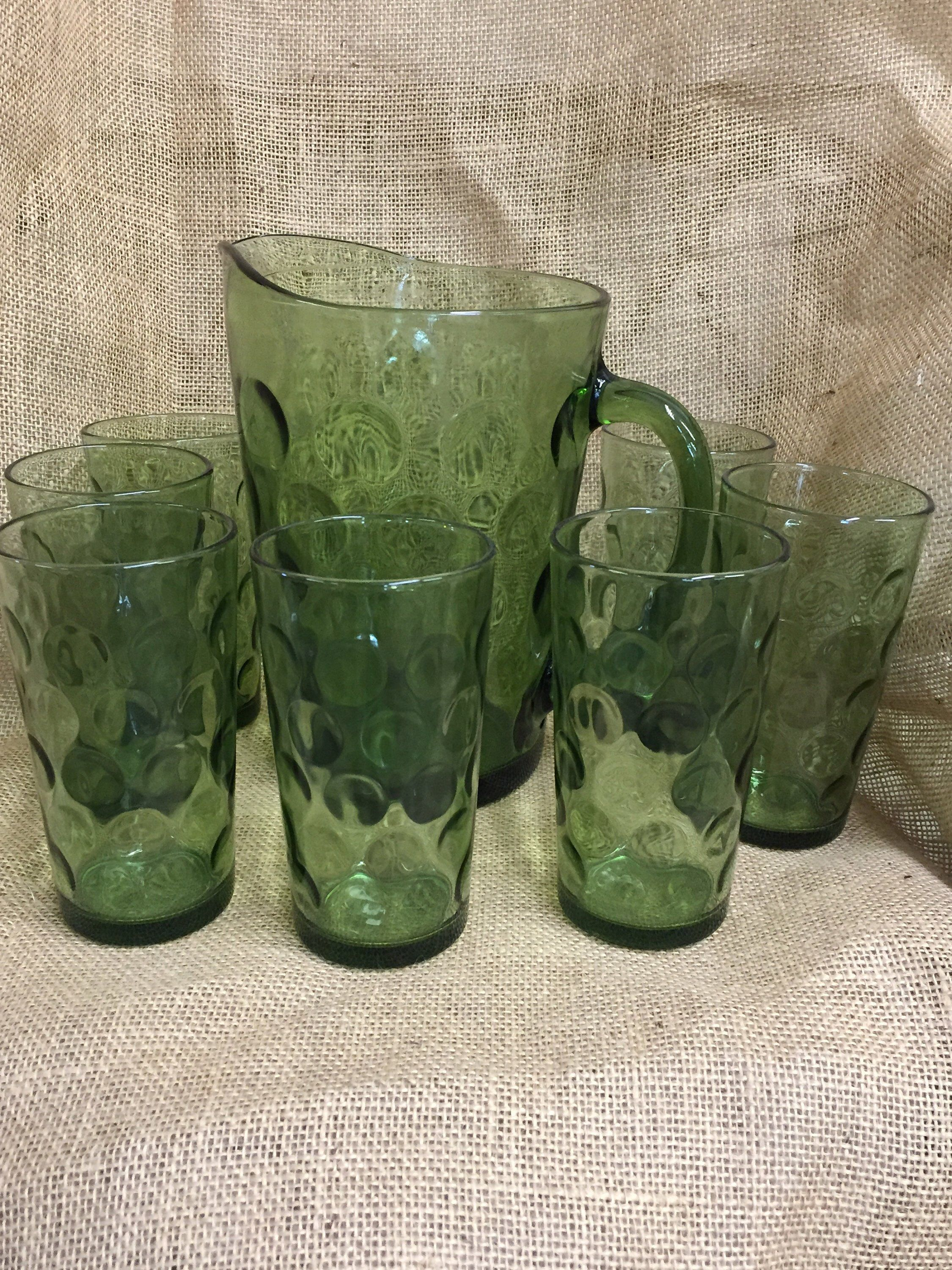 920ade62cfa7 Hazel Atlas Bubble Green Glass Dot Pitcher and Seven Ice Tea Glasses  Vintage by WSSTreasures on