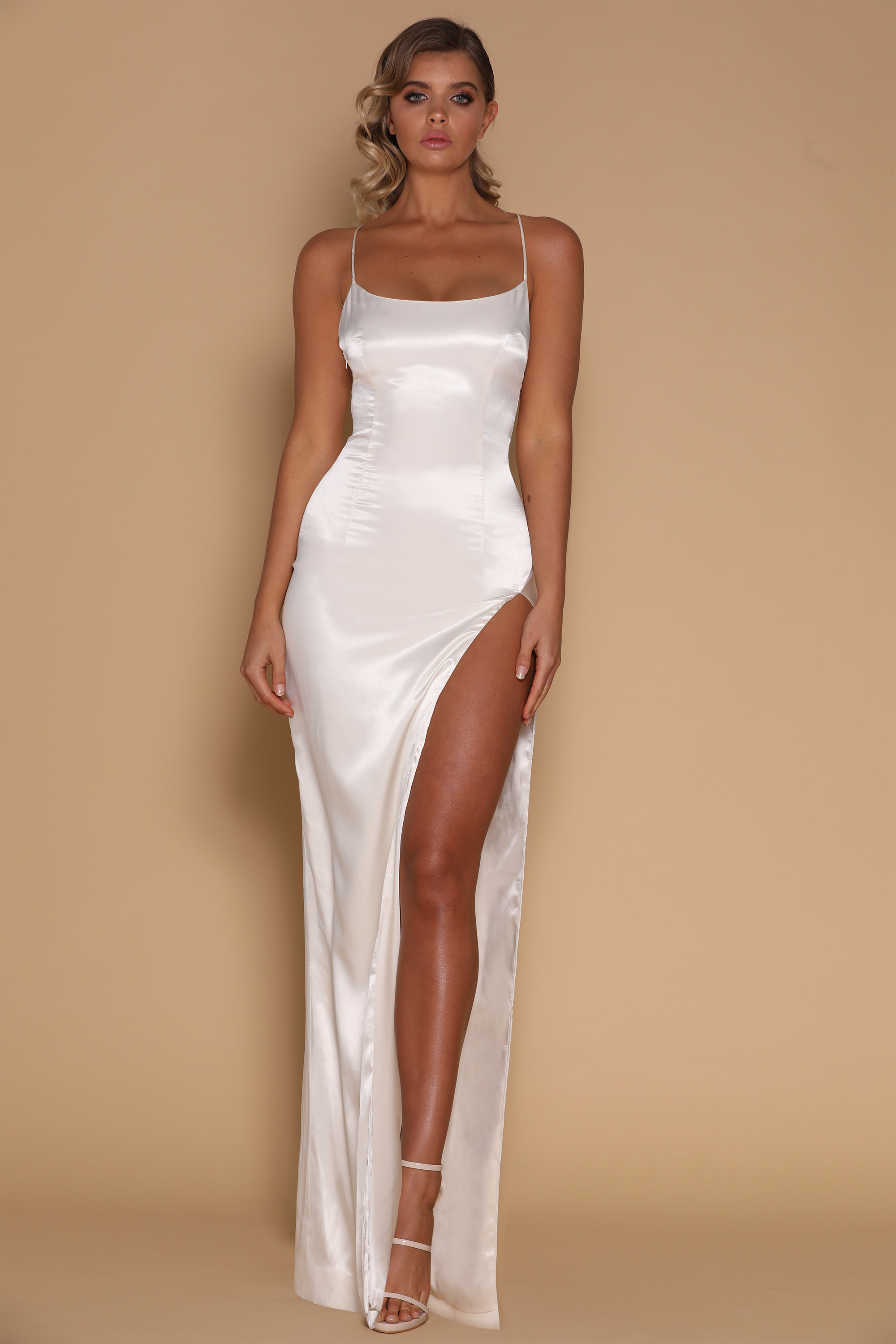 6be21813e70 Amina Satin Maxi Dress - Ivory - MESHKI Dresses For Sale
