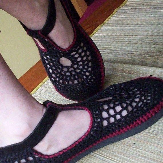 Mary Jane häkeln Schuhe schwarz und CUSTOM MADE von lepiedleger