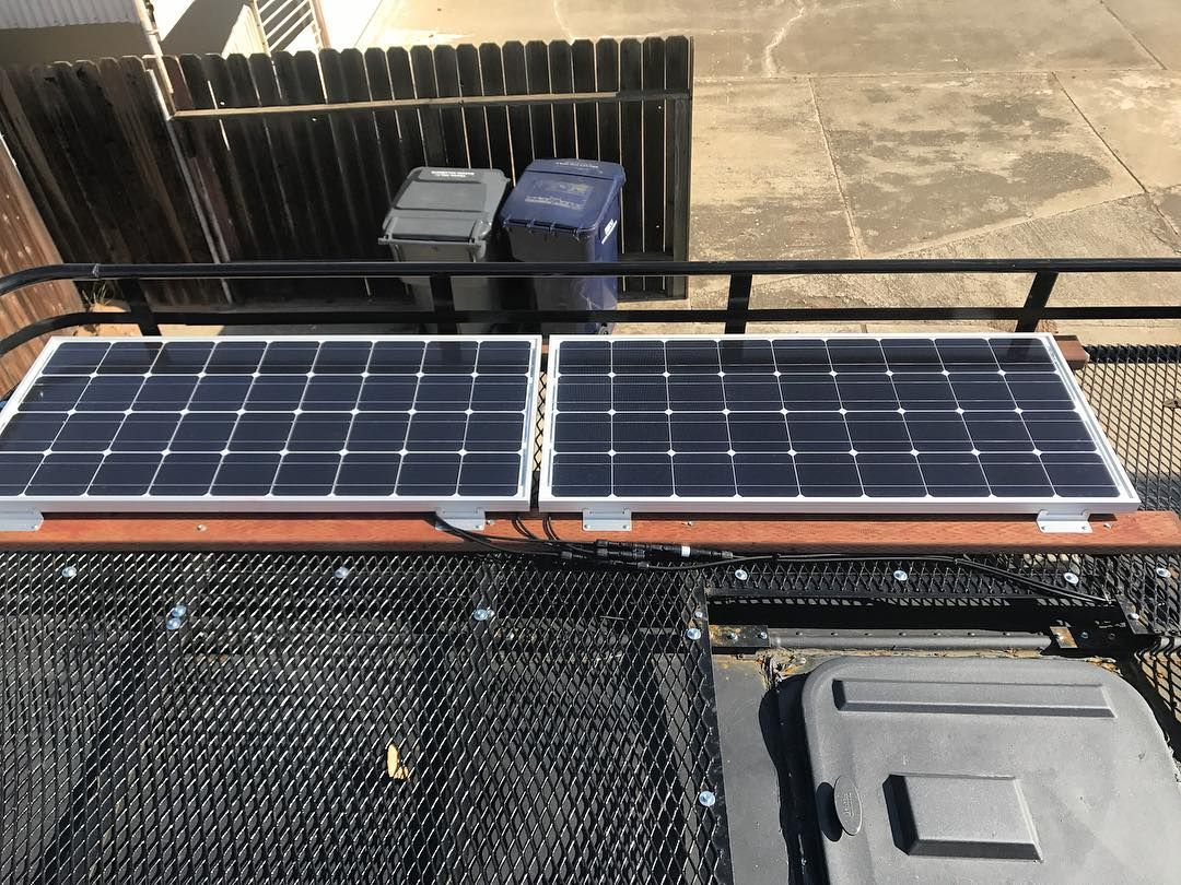 I Mounted The Renogysolar Panels On The Roof Rack And Ran Wires Into Skoolie Outside Is All Done Now To Finish Inside Solar Panels Skoolie Roof Solar Panel