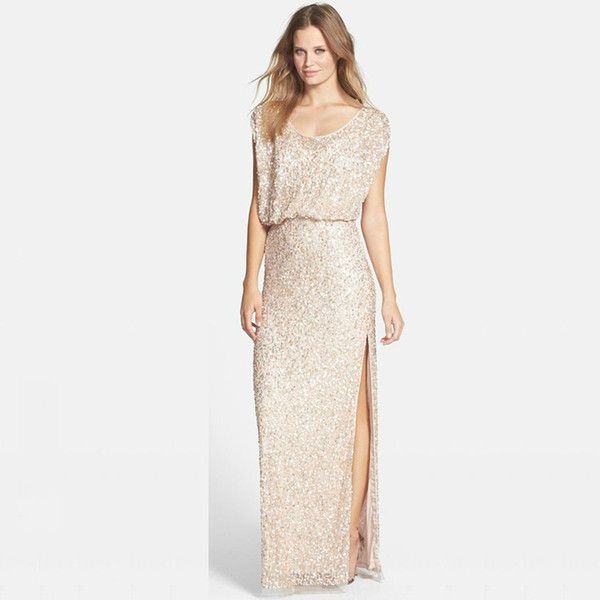 1419204e373f7 Sequins Rose Gold Long Bridesmaid Dresses Plus Size Split Scoop Champagne Sparkly  Maid of Honor Bridal Wedding Party Gowns 2016 Custom Made