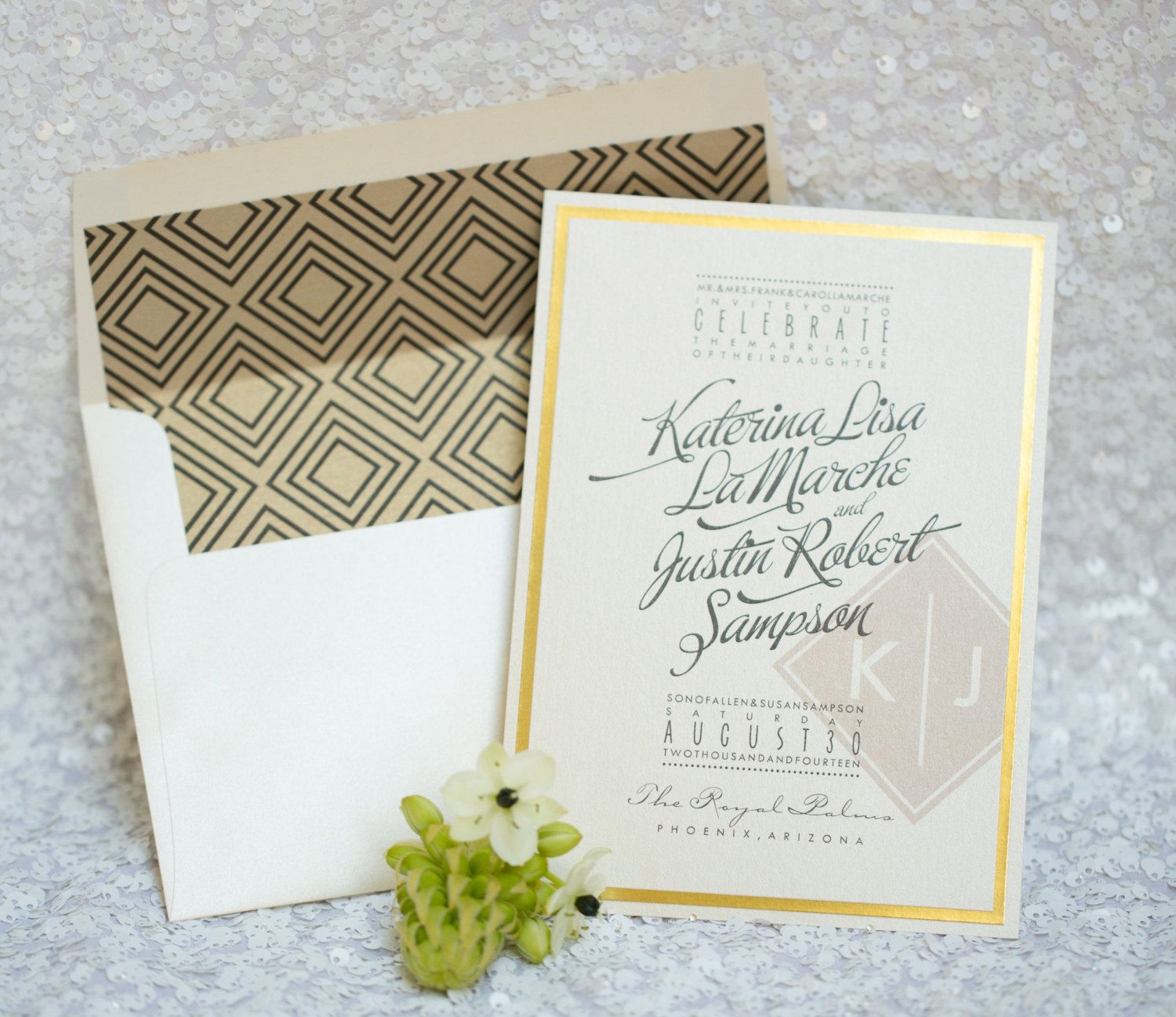 Ivory And Gold Foil Wedding Invitations Royal Romance As Seen On Style Me Pretty Black Blush Monogram Art Deco By: Ivory Deco Wedding Invitations At Websimilar.org