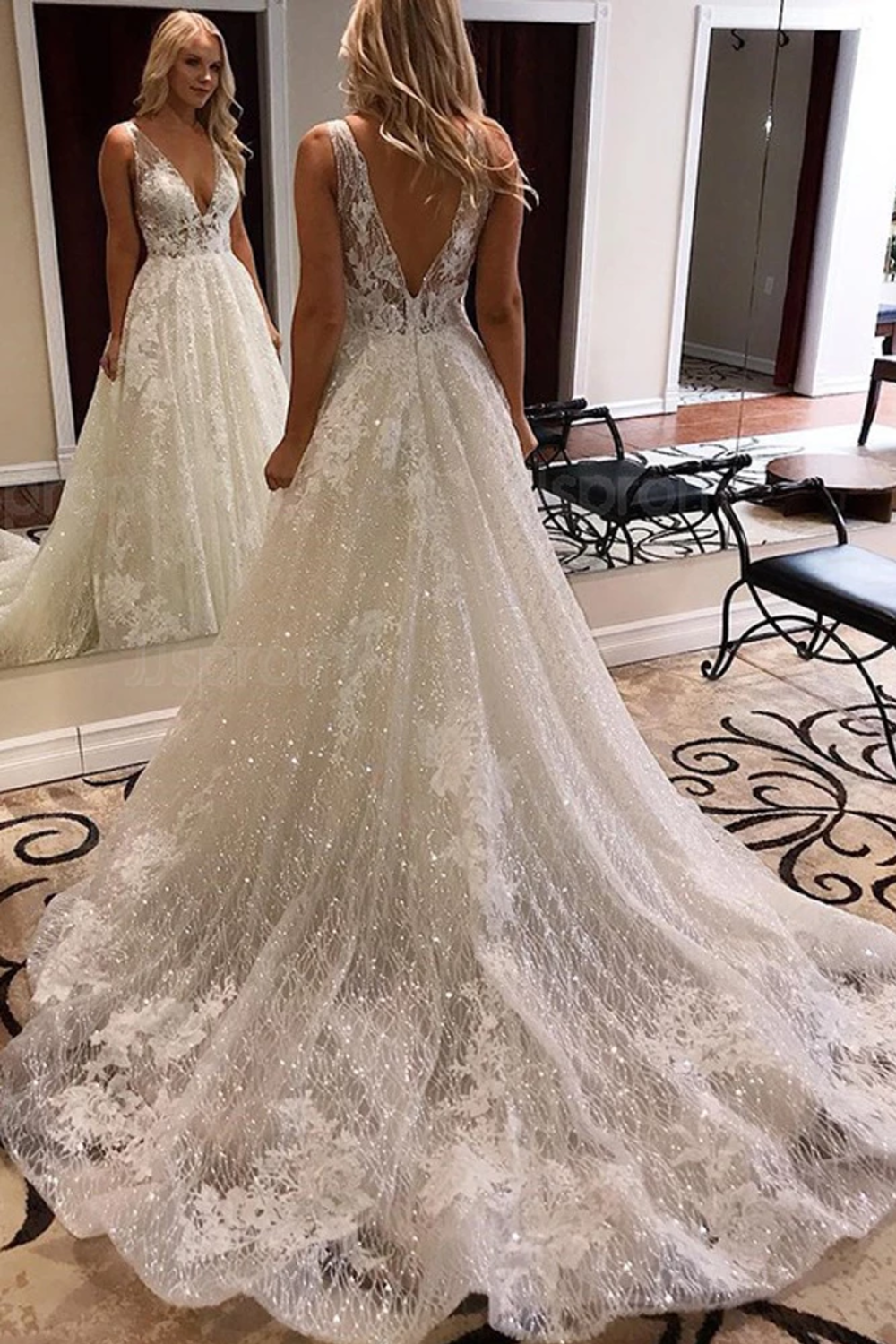 Luxurious Ball Gown V Neck Open Back Ivory Lace Wedding Dresses Sequins Beach Bridal Dresses Us 379 00 Eqpffa9dl6 Ellepoques Co Uk In 2020 Sparkle Wedding Dress Wedding Dress Sequin Elegant Bridal Gown