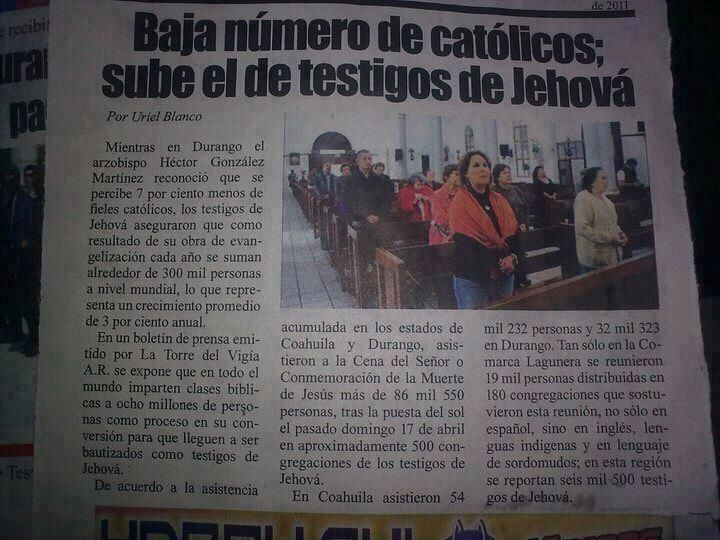 Sube el numero del los Testigos de Jehova. The number of Jehovah's Witnesses is rising.