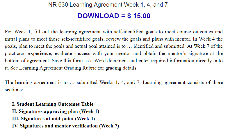 For Week 1 Fill Out The Learning Agreement With Self Identified