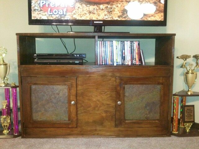 Tv Stand I Built Slate Insert Doors My Creations Pinterest