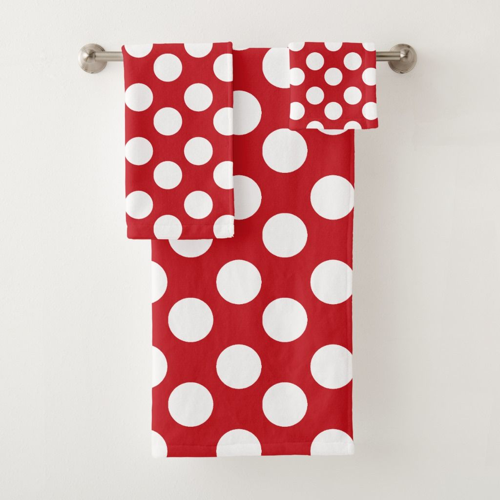 Red And White Polka Dot Bath Towel Set Zazzle Com Red Towels