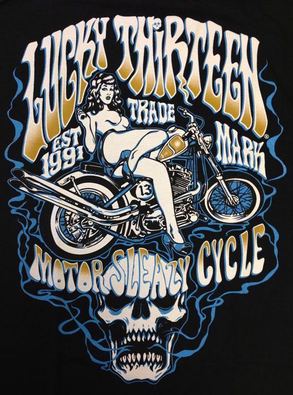 Lucky 13 t shirt men/'s Vintage Iron Motorcycle Hot Rod Kustom tattoo S-4XL