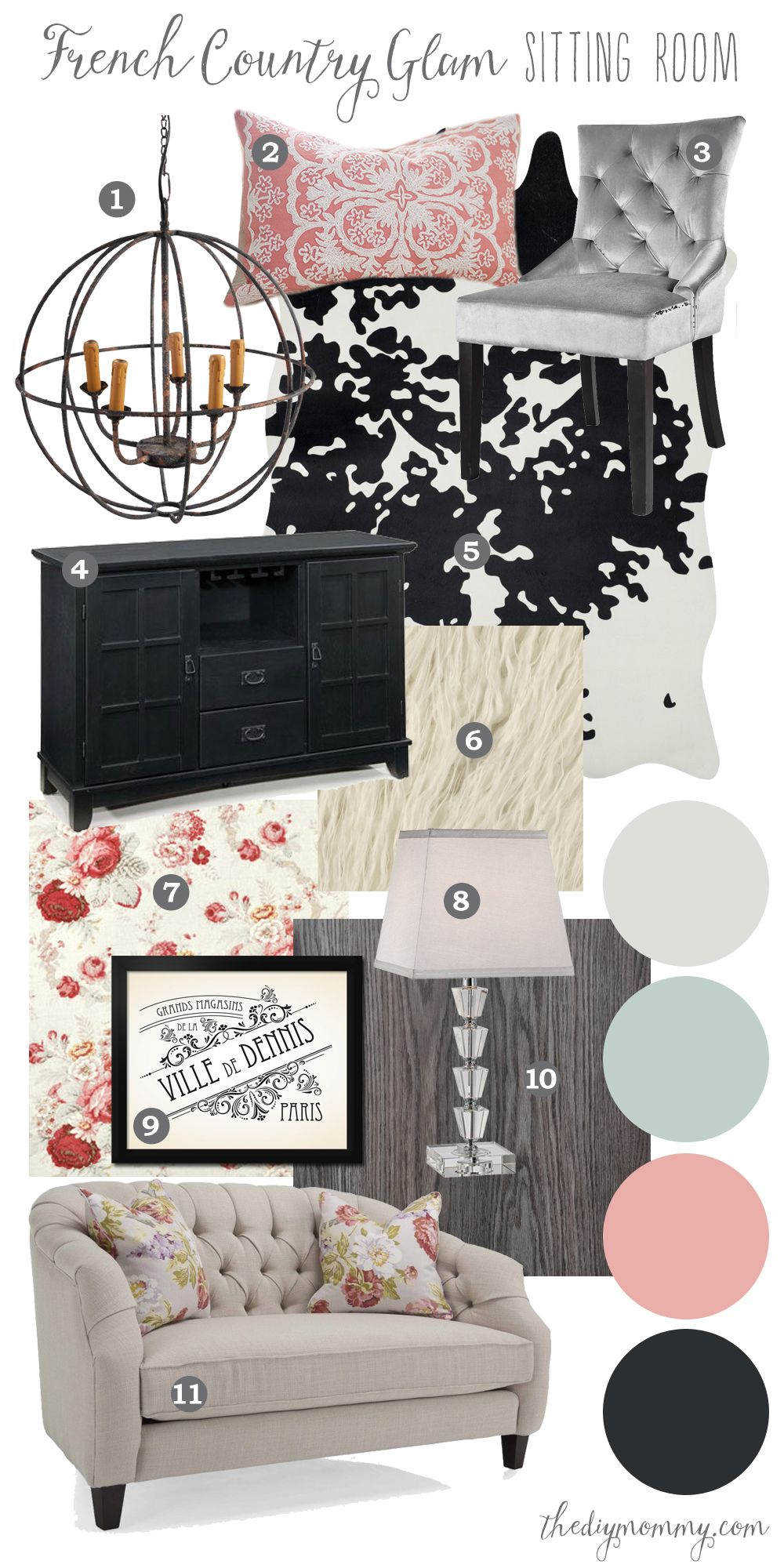 Mood board modern french country glam formal sitting room for Modern living room mood board