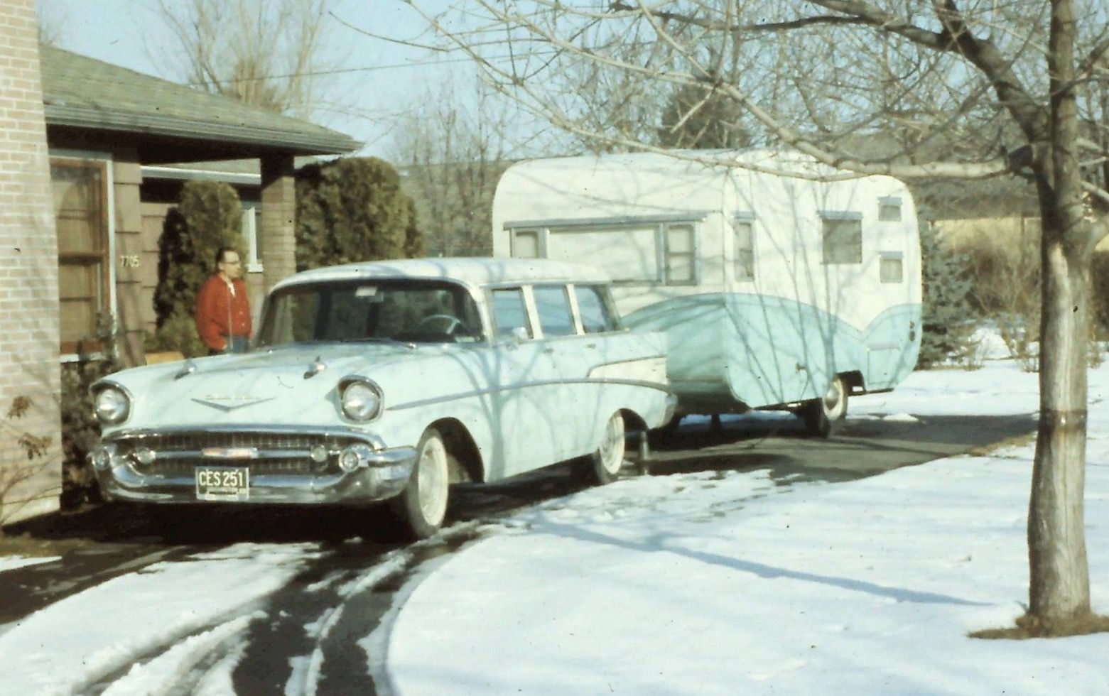 57 Chevy with matching Sante Fe. Circa 1961