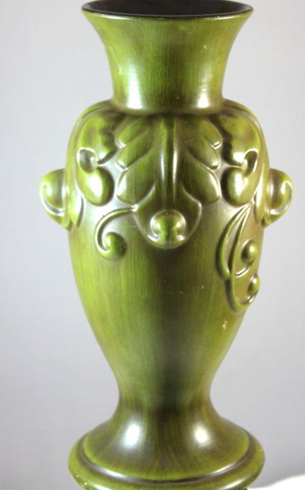 Vintage Haeger Art Pottery Ornate Olive Green Matte Finish Vase Pottery Art Vintage Vases Vintage Pottery