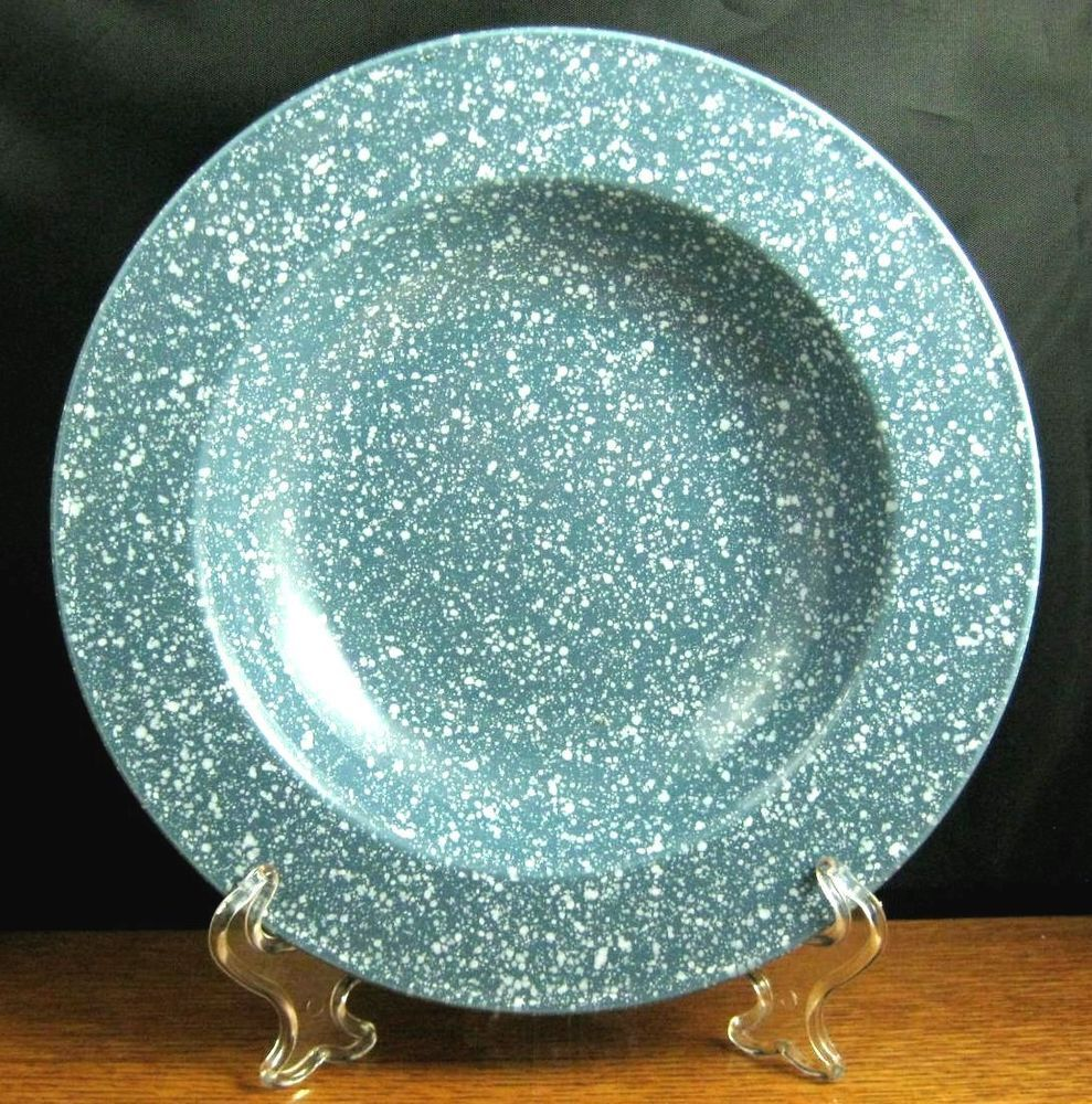 Mikasa Ultrastone Country Blue 4 Rimmed Soup Bowls 9 1/4 ...