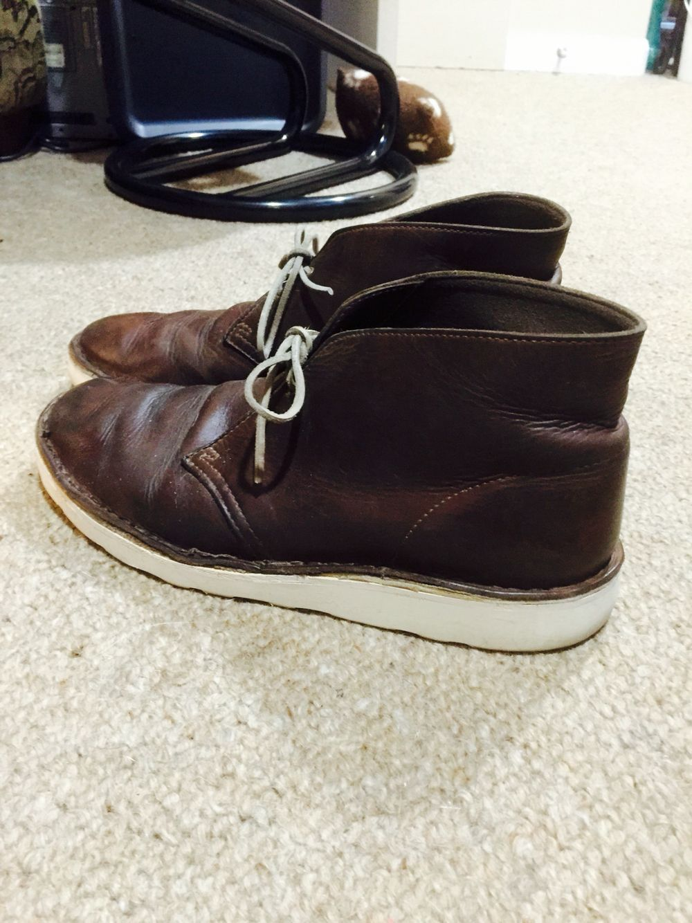 Resoled beeswax Clark's desert boots. Vibram soles done at The Shoe Store in Brighton MI.
