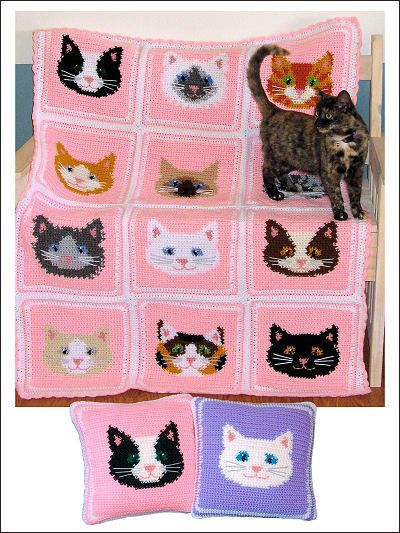 Sweet Kitty Afghan & Pillows
