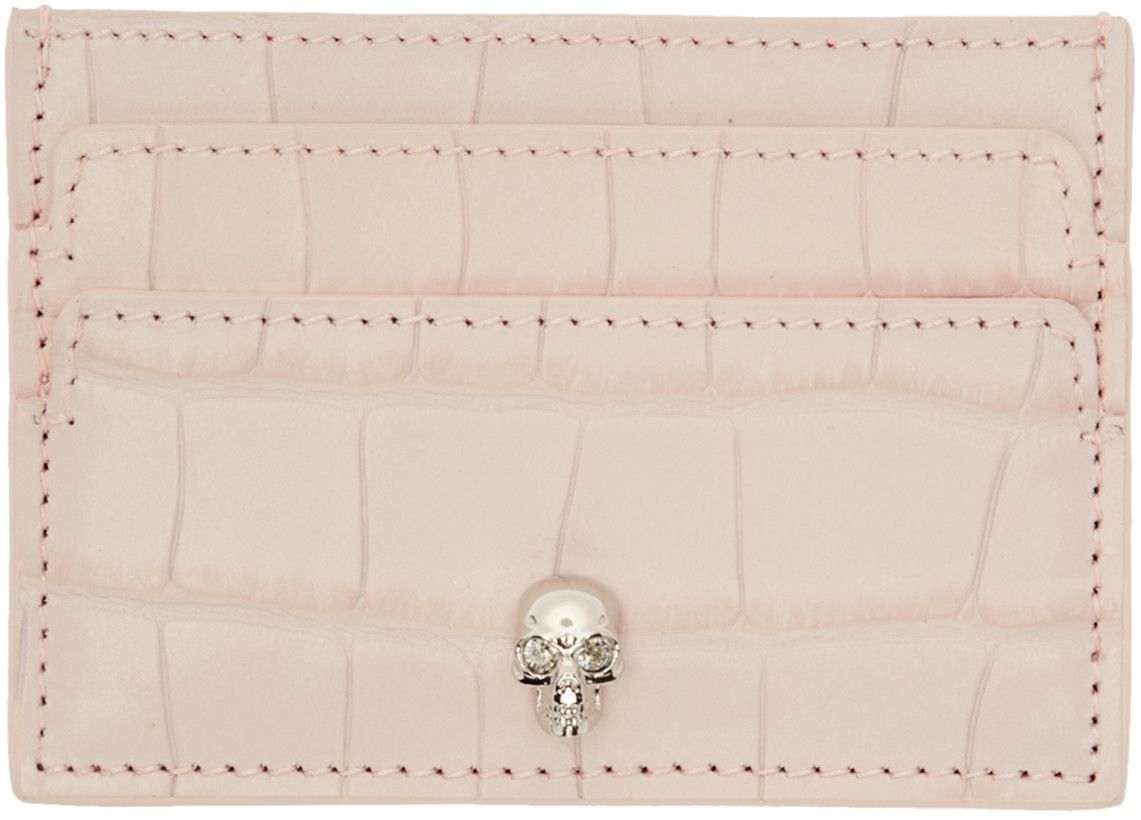 Alexander mcqueen pink croc skull card holder ssense