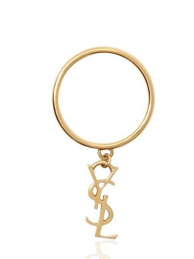 SAINT LAURENT MONOGRAMME GOLD PLATED SILVER RING