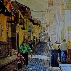 Cusco Paintings - Morning at a Side Street in Cuzco  by Andre Salvador
