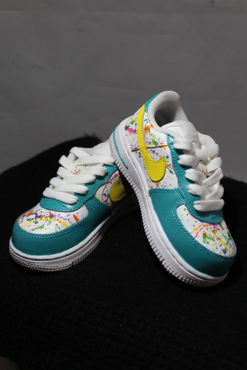 Custom Painted Air Force Ones- Hand Painted Tennis Shoes- Nikes- Splatter  Painted-