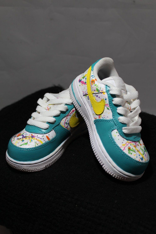 Custom Painted Air Force Ones- Hand Painted Tennis Shoes- Nikes- Splatter  Painted- Custom Tennis Shoes- Custom Painted Air Force Ones