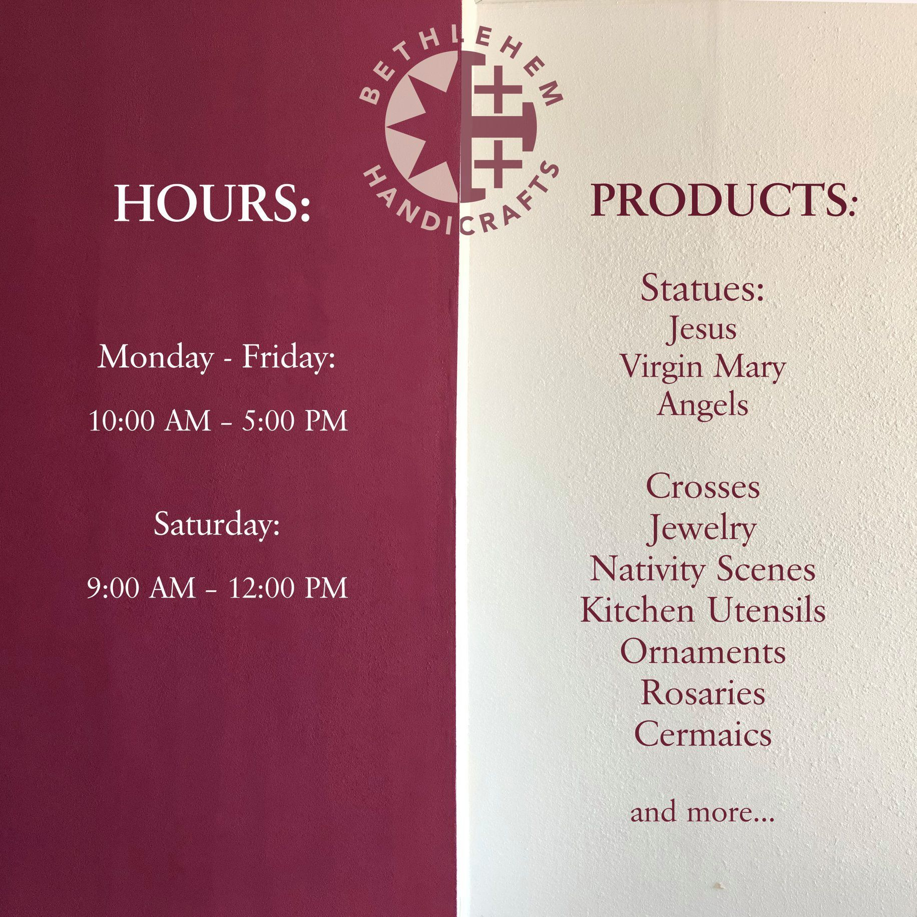 Update Our Store S Hours Bethlehem Handicrafts Shop In Aurora