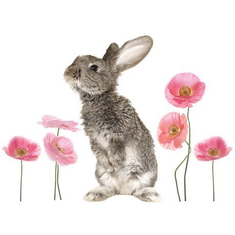 Mainstays Kids 12 Bunny Poppies Wall Decal Multi Animals