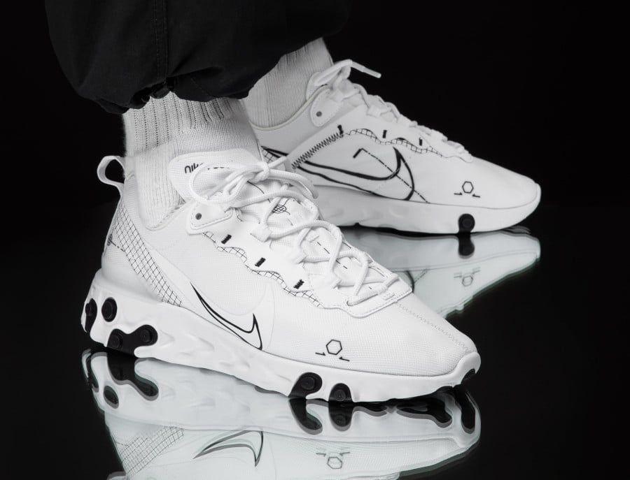 Nike React Element 55 Schematic White Black (2019) | Sneakers men ...