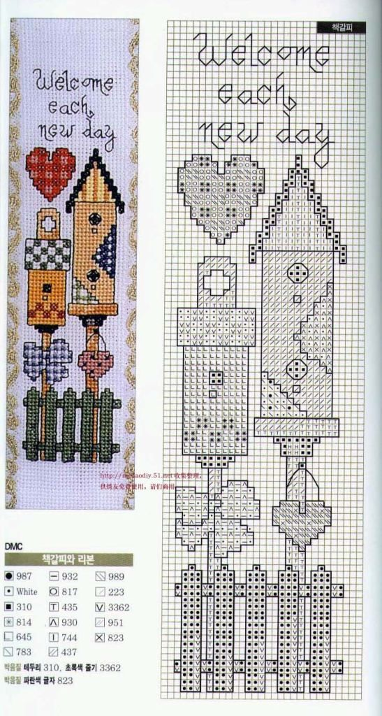 Cross-stitch Welcome Each New Day Bookmark | Good ideas | Punto de ...
