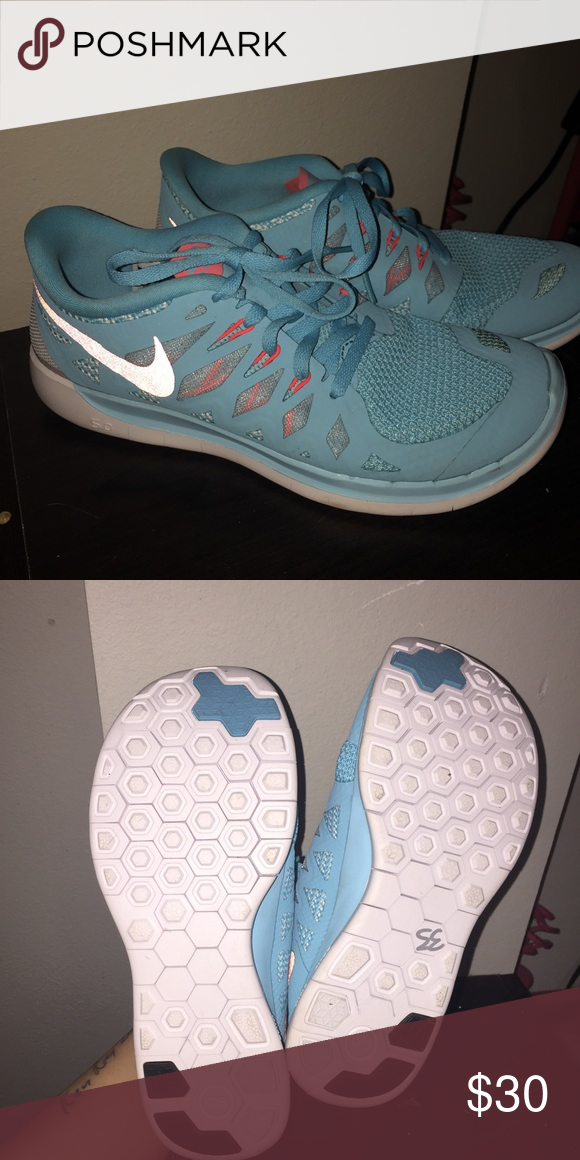 a70931a730b7 Nike Free Run 5.0 Never worn light blue and pink Nike Free Run 5.0 s (size  5.5Y but fit like a 6.5 7 women s) Nike Shoes Athletic Shoes