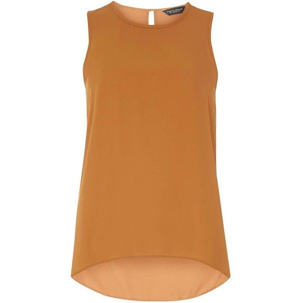 c0de327a4dd05f Dorothy Perkins Tan Dip Back Shell Top (1.390 RUB) ❤ liked on Polyvore  featuring. Shirts   TopsTank ...