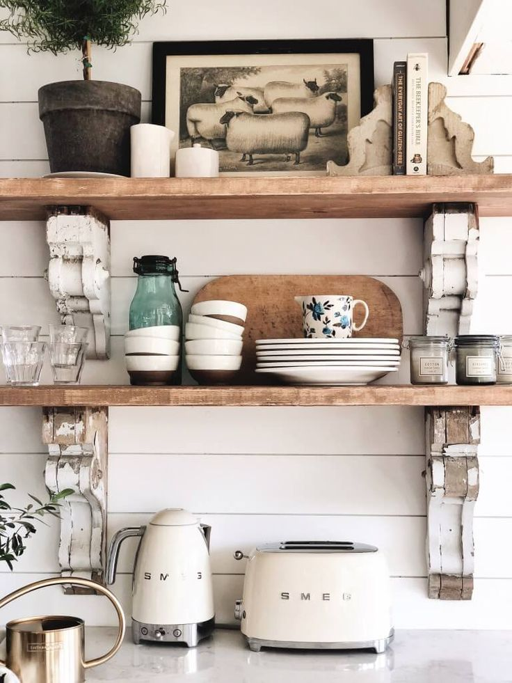 26 farmhouse shelf decor ideas that are both functional and gorgeous cottage style kitchen on kitchen decor open shelves id=50241