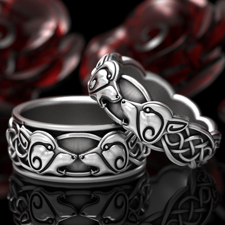 Wolf Wedding Ring Set Celtic Wolf Ring Set Mens Wedding Etsy In 2020 Celtic Wedding Rings Wedding Ring Sets Diamond Wedding Bands
