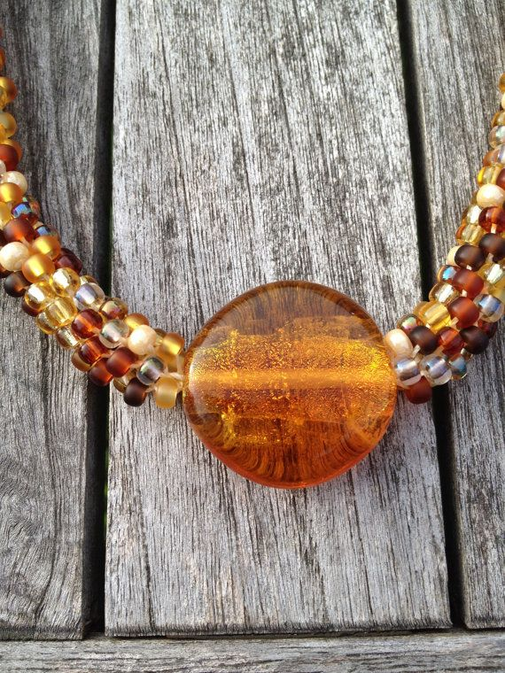 Kumihimo Beaded Necklace in Golden Browns with by ChuraumiSeaGlass, $49.00