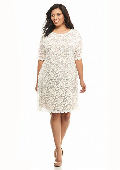 Connected Apparel Plus Size Allover Lace Shift Dress 3 13