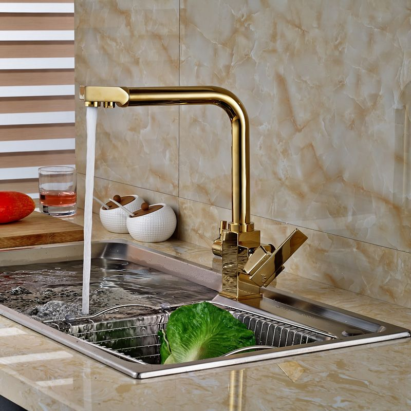 $6840  Buy 2016 New Golden Pure Water Kitchen Faucet 3 Way New Discount Kitchen Faucets 2018
