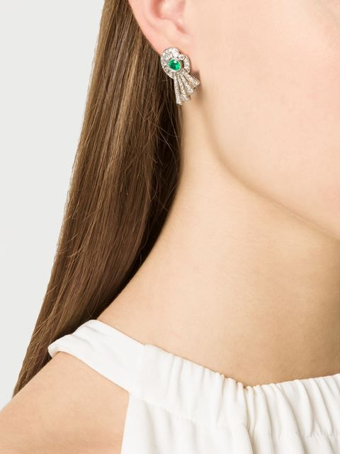 Art Deco diamond & emerald earrings