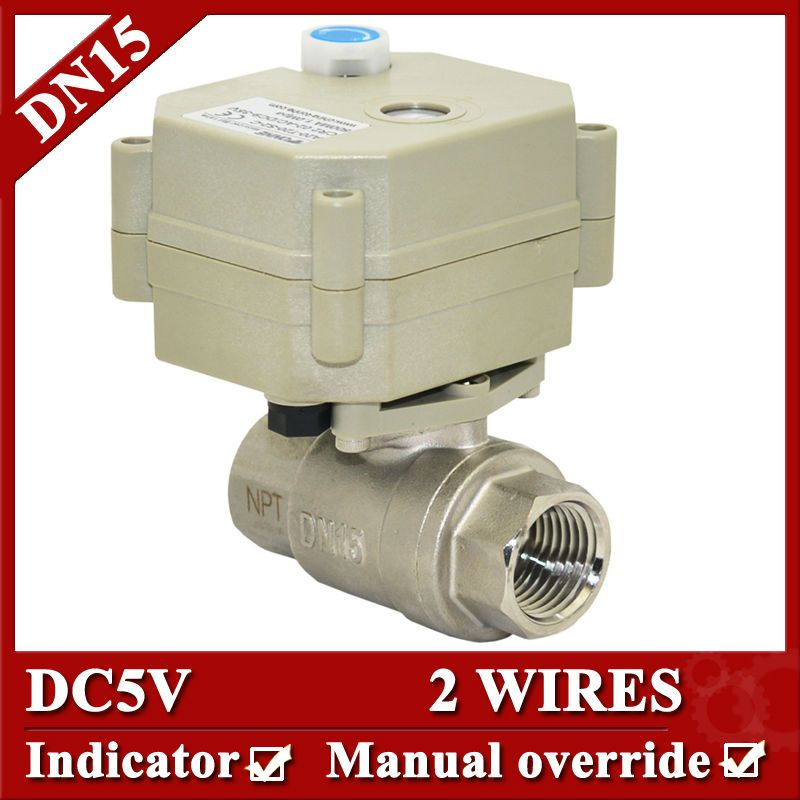 1 2 Water Electric Valve Dn15 Motorized Valve Ss304 2 Wire Control With Manual Override For Water Clean Heating Electric Water Valve Valve Override