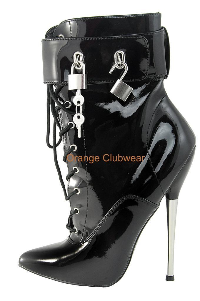 DEVIOUS Sexy Metal Spike Locking Extreme Nero Stiletto Ankle Ankle Ankle Stivali   091efc