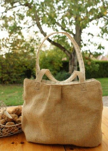 Bolso con tela de saco graziellabolsos bolsos - Saco arpillera ...