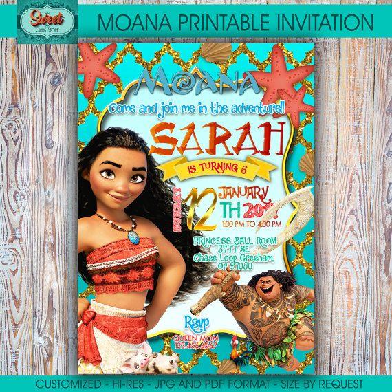 Moana personalized digital invitation moana by for Printable moana invitations