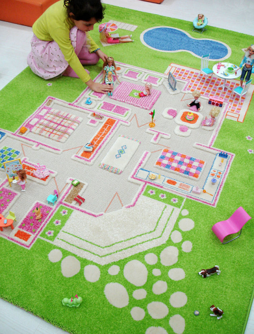 Interactive rugs by Danish~In a world of electronics or batteries required~This screams good clean imaginative play=)
