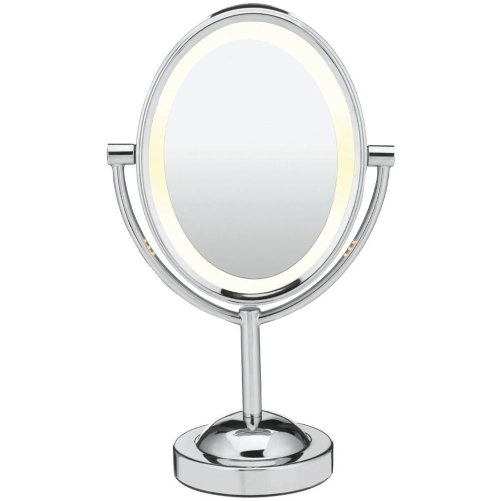 Conair Reflections Double Sided Lighted Oval Mirror Makeup Mirror With Lights Lighted Vanity