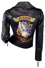 ED HARDY by Audigier LEATHER JACKET coat L brads Embroidered PRINT mermaid skull