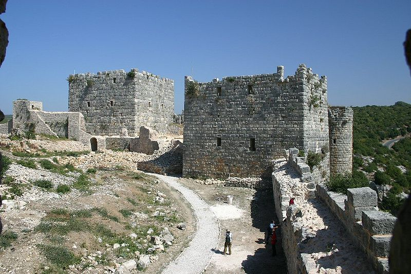 The Citadel of Salah Ed-Din is a castle in Syria. It is also known as Saône or Saladin Castle. It is located 7 km east of Al-Haffah town and 30 km east of the city of Latakia, in high mountainous terrain on a ridge between two deep ravines and surrounded by forest, the site has been fortified since at least the mid 10th century. In 975 the Byzantine Emperor John I Tzimiskes captured the site and it remained under Byzantine control until around 1108.