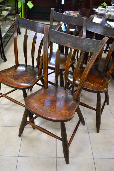 Rare Set Of 4 Antique United Empire Loyalists Dining Chairs